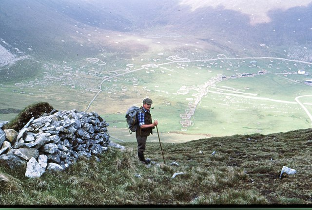 By a cleit on Mullach Sgar overlooking on the village