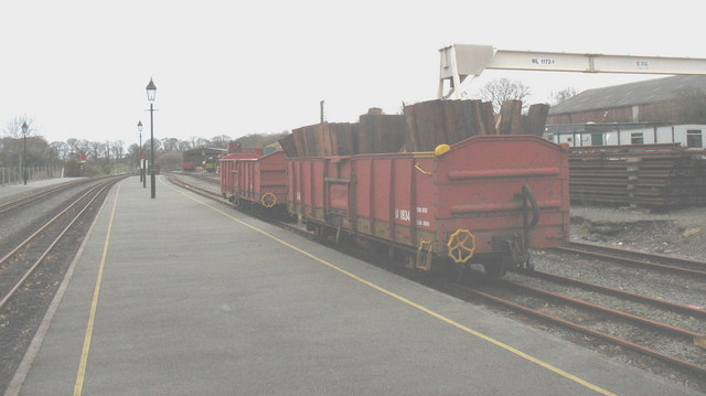Former South African Railways open trucks at Dinas Station