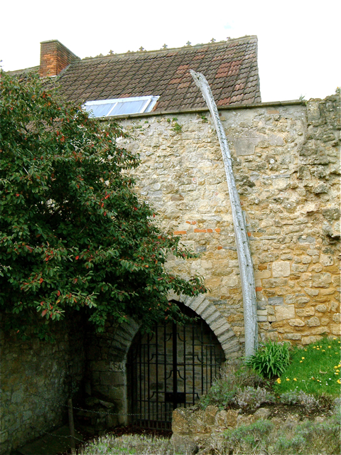 Remains of a whale bone arch in Glastonbury Abbey