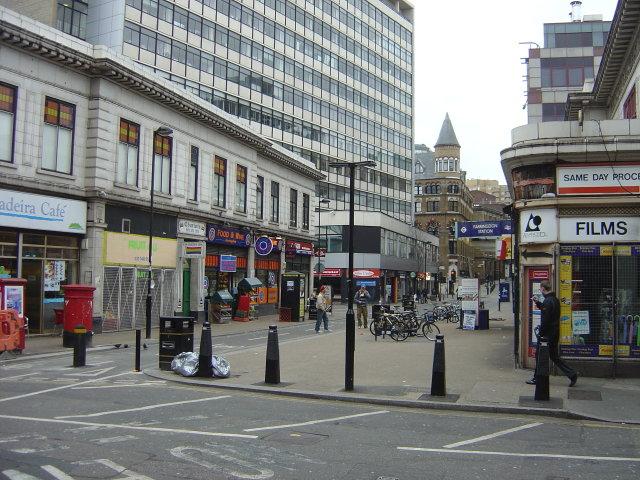 Cowcross Street outside Farringdon Station.