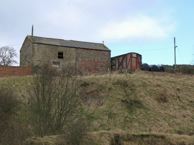 Old railway goods van and barn near Rookhope village