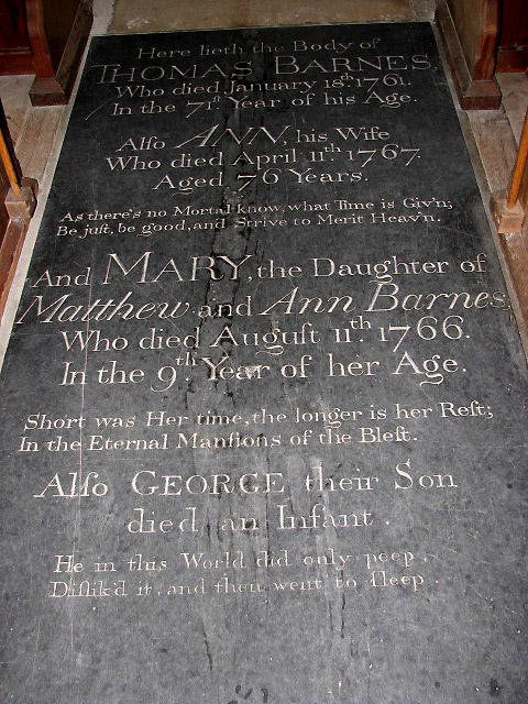 St Peter's church - C18 tomb slab