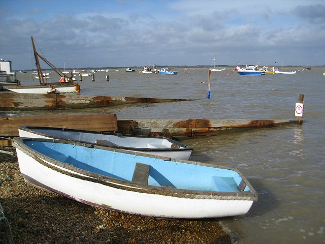 Boats moored on the River Deben