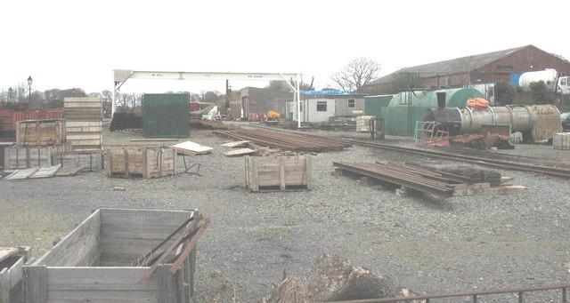 The railway construction materials storage yard at Dinas Station