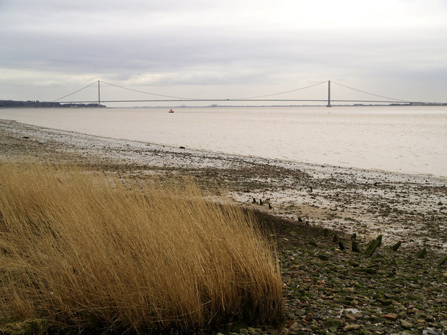 The Humber Foreshore and view eastwards from East Clough