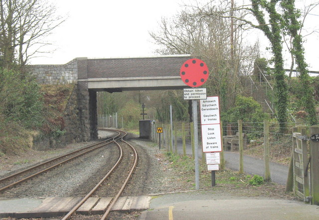 Road bridge over Welsh Highland Railway at the south end of Dinas Station
