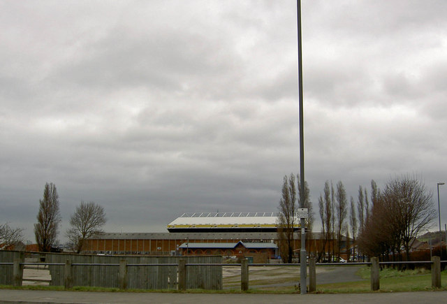Leeds United football ground from the entrance to the match day car park on Elland Road