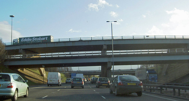 Stopped on the M1 Lofthouse interchange the bridges carry the M62