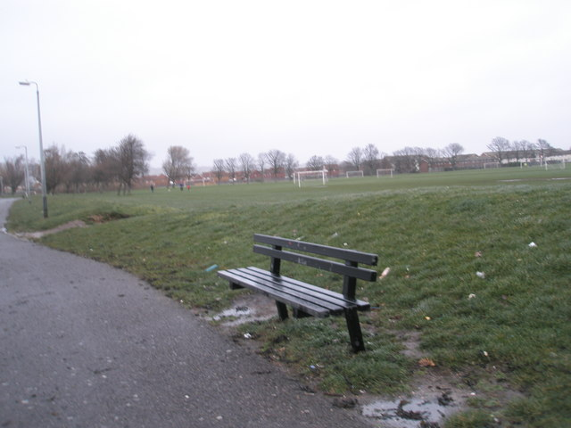 Looking past the seat to the football pitches at Alexandra Park