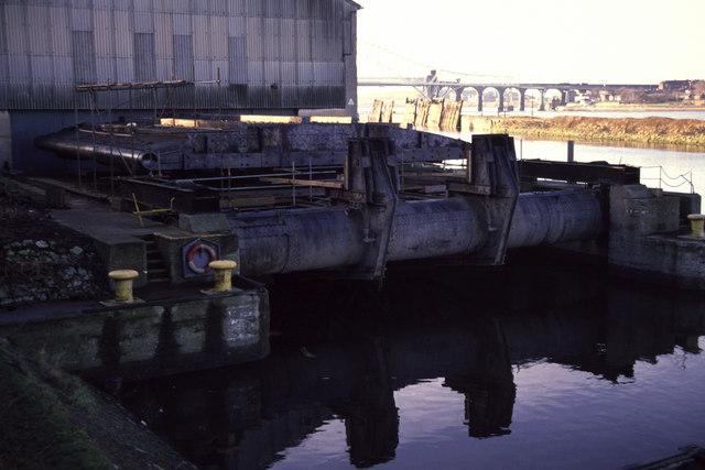 Manchester Ship Canal, lock gate facility.