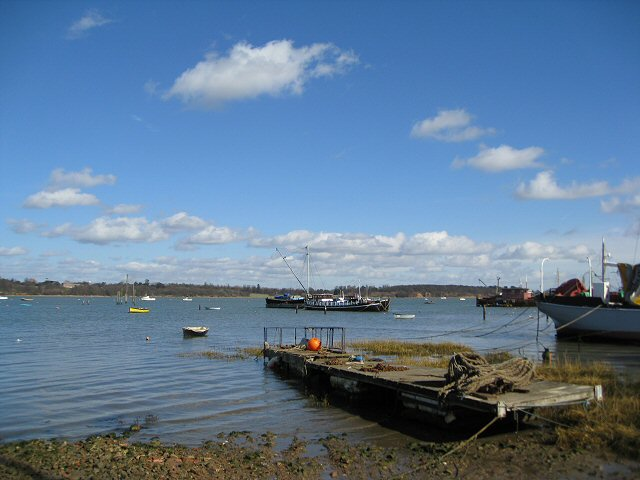 Boats moored on the River Orwell at Pin Mill
