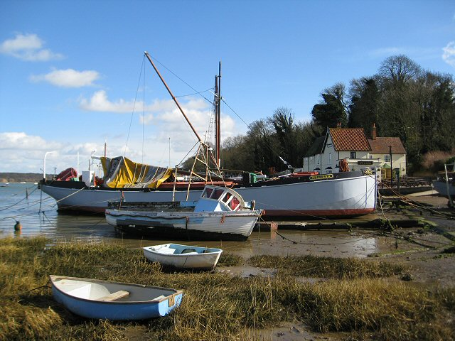 Boats moored in front of Pin Mill