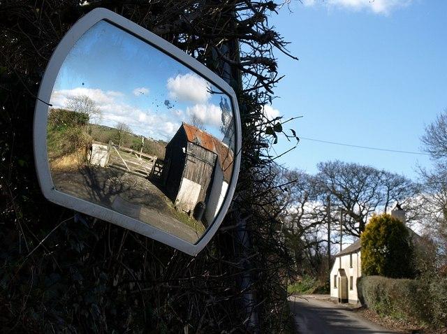 Traffic mirror at Trebreak Lane End