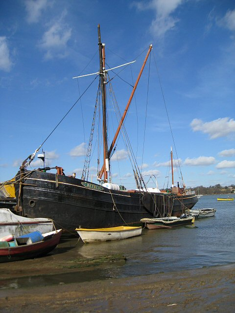Old Sailing Boat moored on the banks of the River Orwell