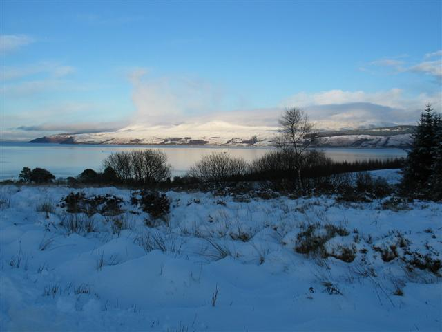 Snow covered Kintyre and Isle of Arran