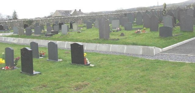 Modern section of the Bryn'rodyn cemetery