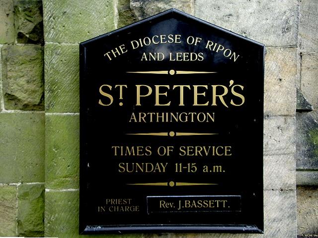 St Peters Church, Arthington, Sign