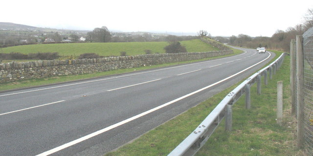 The A487 bypass viewed from the drive of Hen Gastell Farm