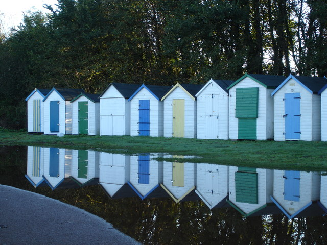 Reflected beach huts, Broadsands Beach