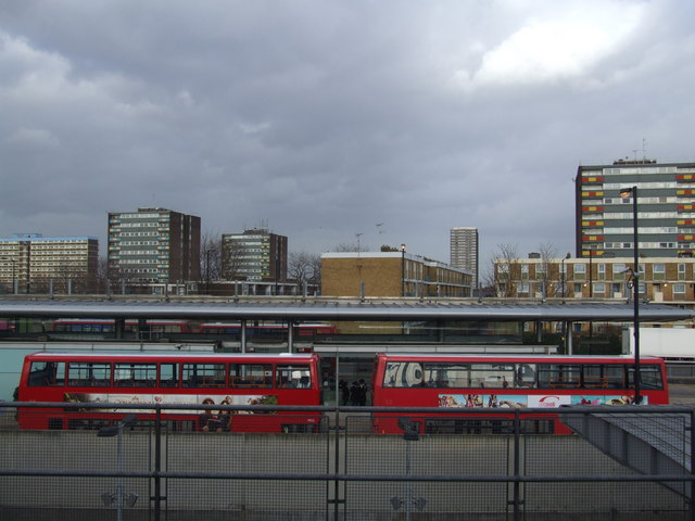 Canning Town, bus station and tower blocks