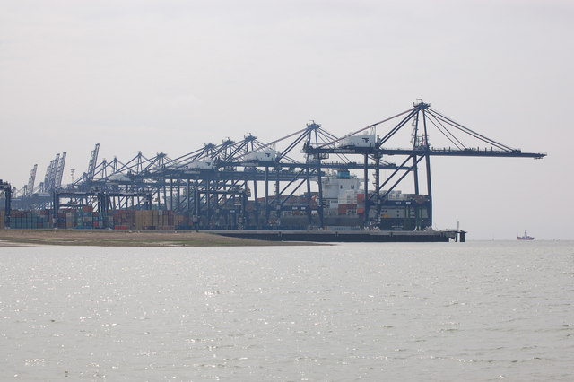 Port of Felixstowe viewed upstream from the Orwell