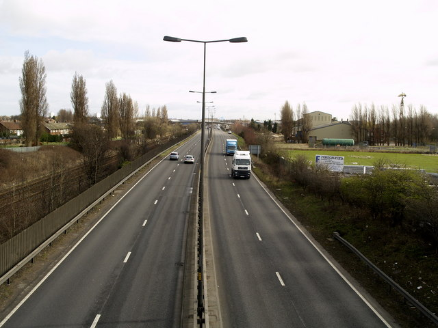 The A63 looking eastwards towards Hull