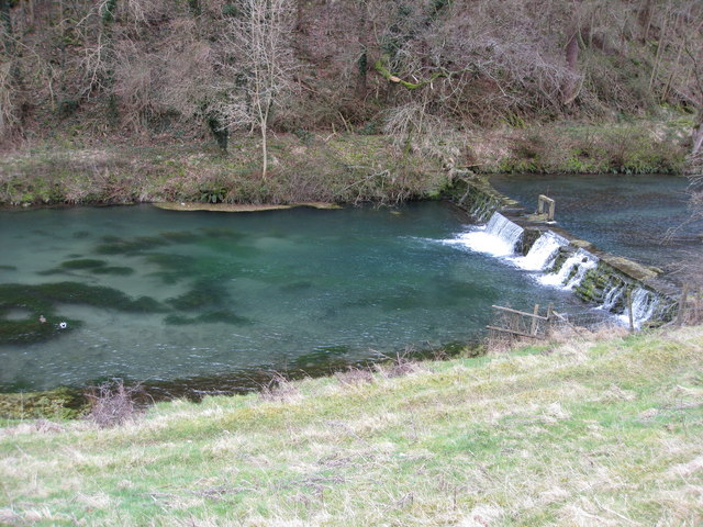 River Lathkill Weir and Clear Blue Water