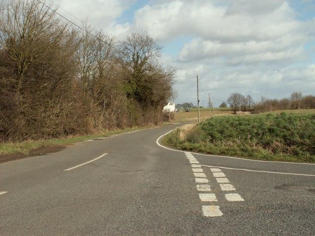 Road junction where Dukes Lane meets Ongar Road