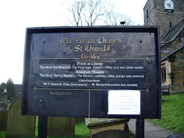 The Parish Church of St Oswald, Leathley, Sign
