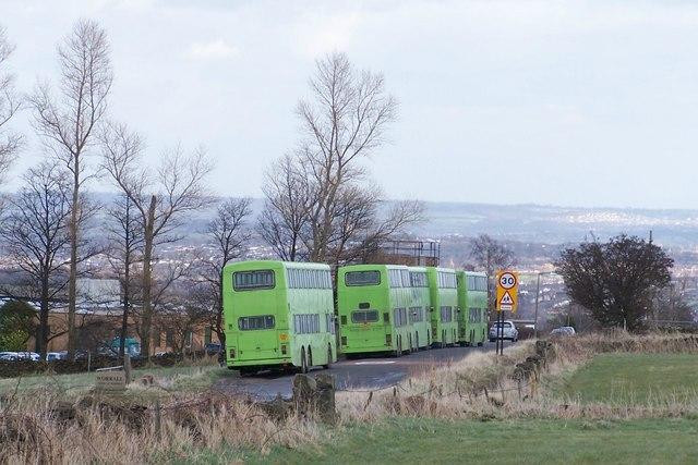 School Buses waiting outside Bradfield School