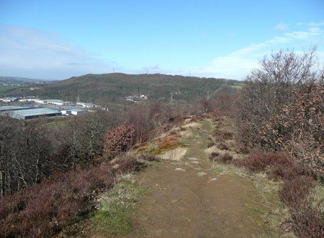 Footpath on the ridge, Strangstry Wood, Elland