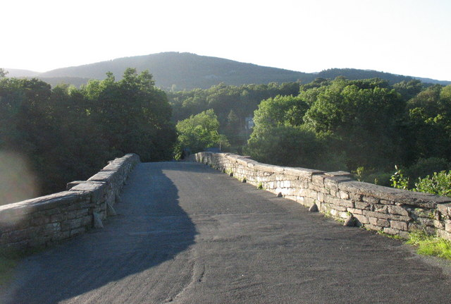 The pedestrianised old road bridge over Afon Mawddach at Llanelltyd