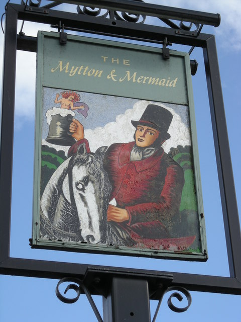 Sign of 'The Mytton & Mermaid' - a roadside inn