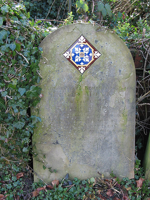 Gravestone with tile, 1878, St. Peter's, Lugwardine