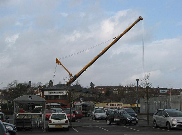 Crane at work on the flood alleviation scheme
