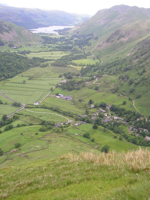 Hartsop and the head of Ullswater from the slopes of Hartsop Dodd