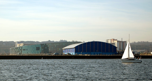 Cardiff ice rink and Swimming pool in the background