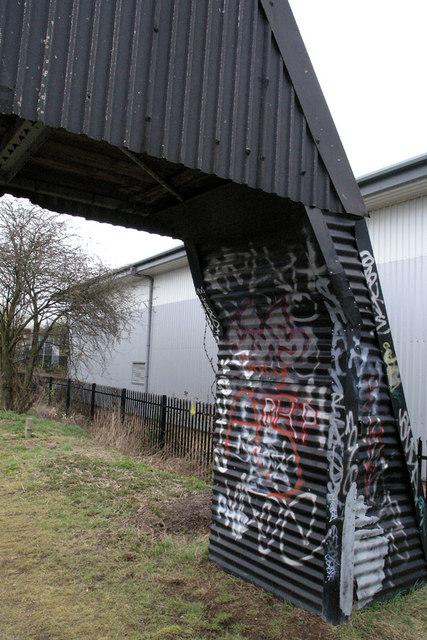 Graffiti covered structure