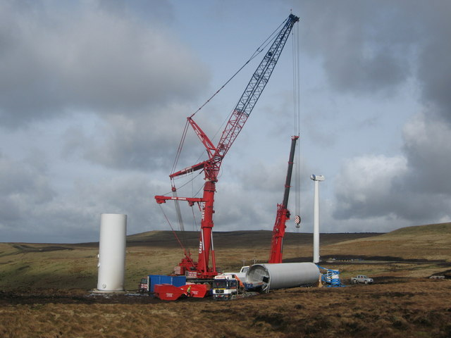 Scout Moor Wind Farm under construction