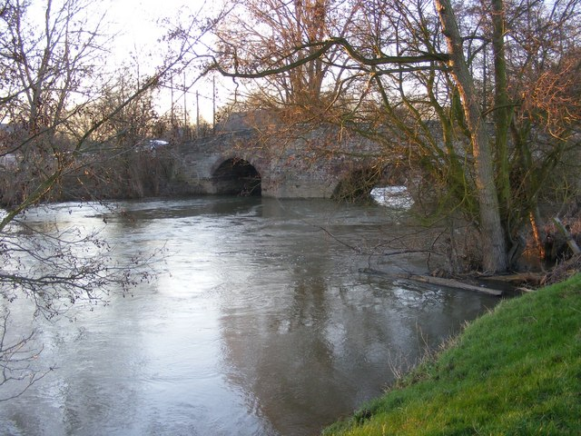 The Lugg in full spate at Moreton Bridge
