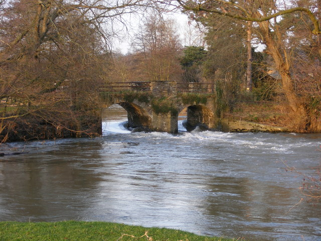 The Bridge and Weir at Eaton Hall. River Lugg