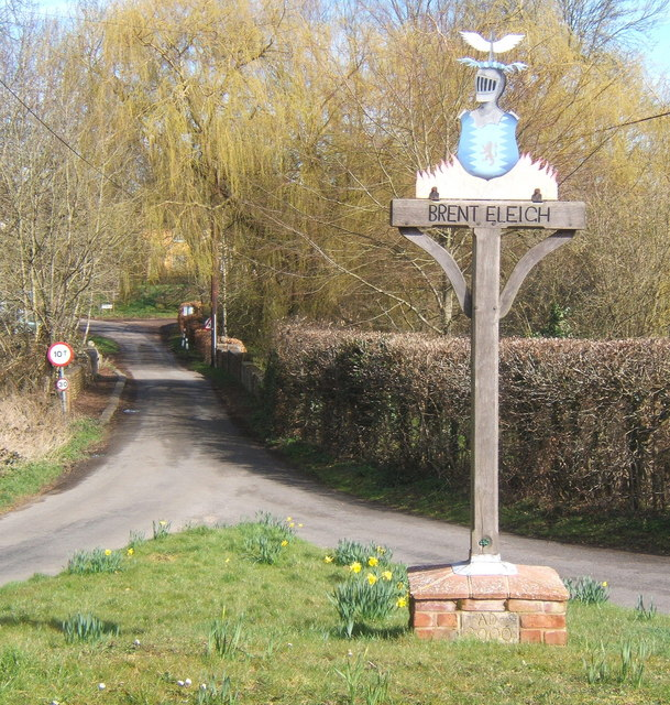 Village sign and lane heading north at Brent Eleigh