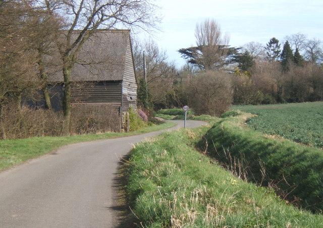 Lane past barn, Milden