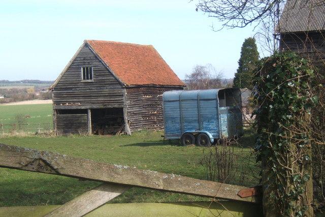 Farm outbuildings and horse box, Milden