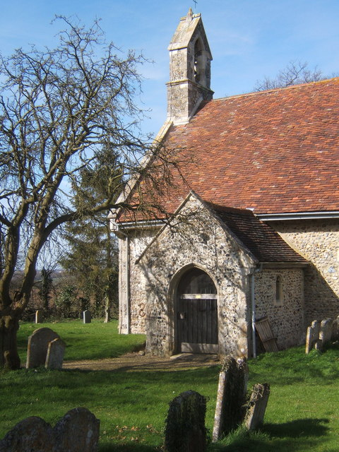 Porch and west end of St Peter's Church, Milden