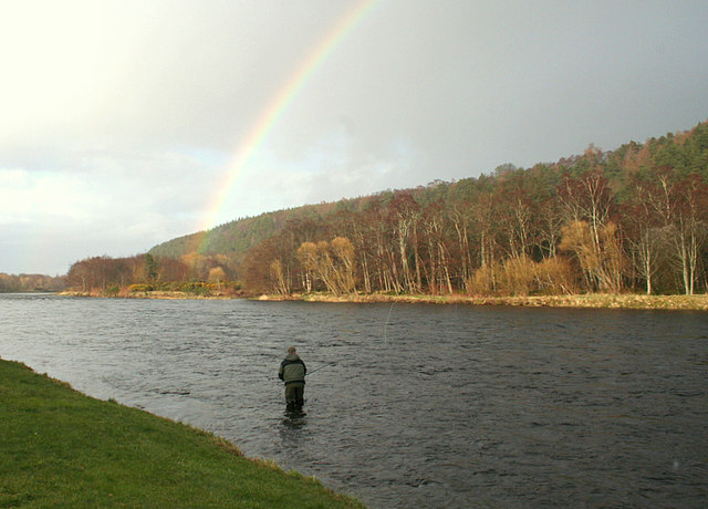 Under the rainbow in the Rock Pool on the Spey