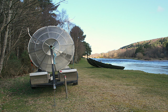 Smolt trap awaiting deployment on the Spey