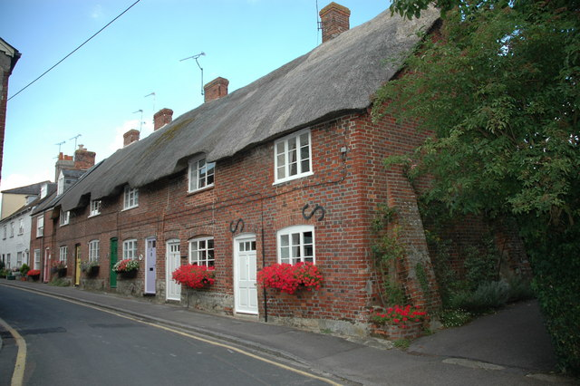Thatched cottages near the church