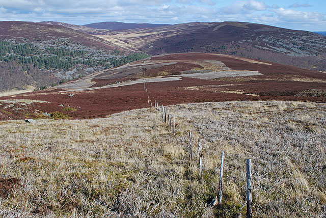 Towards Glen  Gairn below Carn Dearg