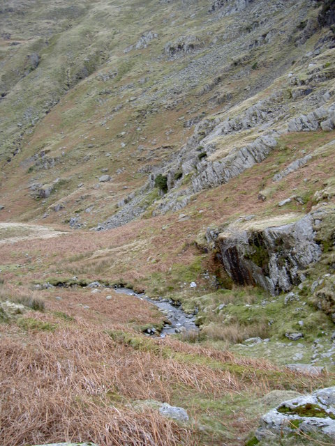 A rock outcrop shepherds the beck